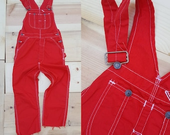 Vintage Overalls  // Vtg 70s 80s Distressed Bright Red Vest Back Bibs w/ Cropped Raw Hems