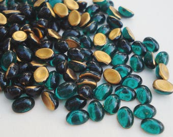 24 Vintage 4x6mm Emerald Green Czech Preciosa Gold Foiled Flat Back Oval Glass Cabs or Stones