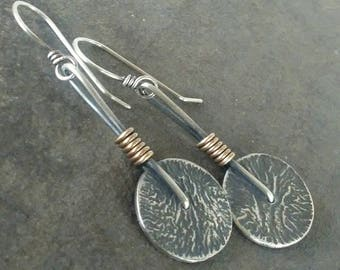 Rustic- Handmade- OOAK-Sterling Silver- Brass-Artisan- Dangle- Earrings.
