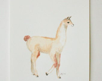 Original Watercolor Painting, The Llama, gouache paint, art for kids, kids decor, animal art, animals, safari art, polka dots