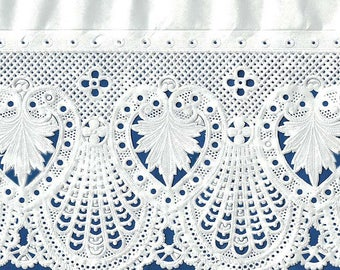 """Extra Wide White Fancy Paper Lace Dresden Trim ~ 4-3/4"""" wide  DFW107"""