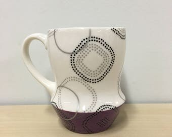 handmade porcelain mug: Dot Dot Rounded Square cup by Meredith Host in Purple, mid mod, coffee mug, polka dots, handmade mug, silver, grey