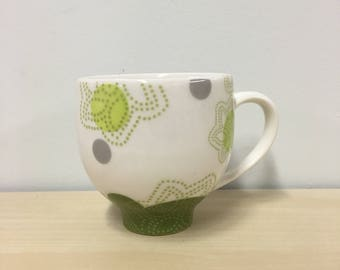handmade porcelain teacup: Dot Dot Leaf cup by Meredith Host, gift for mom, mid mod, coffee mug, polka dots, avocado, spring green, coffee