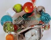 Verkauf schäbige schicke Tropen... Lime, Türkis, weiß und Orange klobige austauschbaren Perlen Armband,