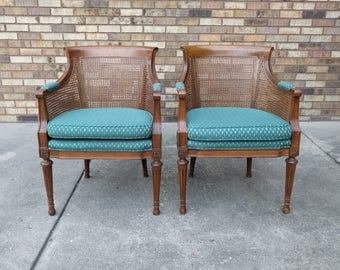 2 neclassical GREEK KEY cane accent chairs