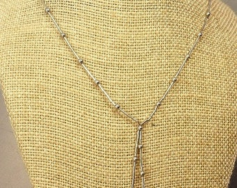 Vintage Sterling Silver Cultured Pearl Lariat Necklace