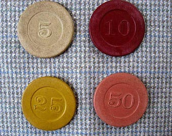Lot of 4 Vintage Clay Gambling Chips, 5, 10, 25, 50, Casino, Poker, Creative Use, Earth Colors