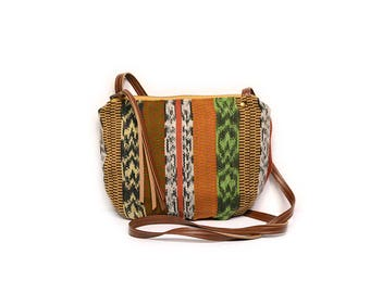 date purse  • guatemalan textile - crossbody bag • guatemala - handwoven textile - waxed canvas - gifts under 50 - simple cross body bag