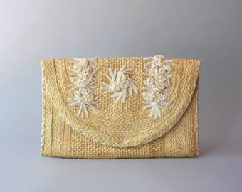 1950s Straw Clutch Bag / Vintage 50s Blonde Straw Summer Purse / 50s Floral Straw Clutch