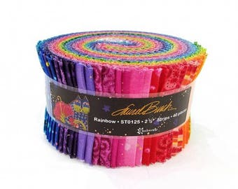 Laurel Burch Basic Rainbow Strip Roll 40 2 1/2 inch strips Fabric