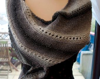 Handknitted Shawl in Sparkly Black and Silver