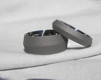 Titanium Ring SET, Knife Edge Bands, Matching Set, Sandblasted