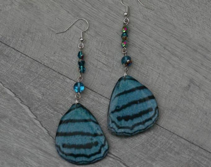 Blue Butterfly Earrings, Butterfly Illustration, Dangle Earrings