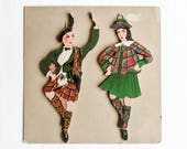 Vintage Hand Painted Folk Art Wood Figures, Traditional Costumes Of Scotland, Wall Art