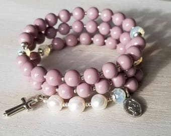 Rosary bracelet | rosary wrap bracelet | wraparound rosary | purple rosary | catholic prayer beads | confirmation gift | godmother gift