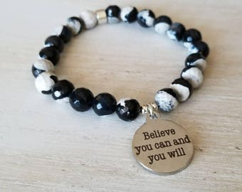 believe you can and you will, inspirational jewelry, beaded bracelet for women, boho jewelry, mothers day gift mom gifts from daughter