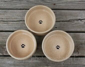6  Inch Cream Beige Stoneware Pet Bowl