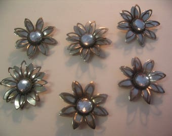 6 Filigree Layered Daisy Flower Embellishments Findings Scrapbook Jewelry Craft Supplies