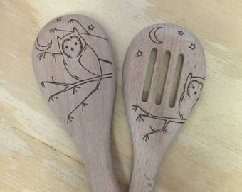 Wooden Spoon Set, Owl, Pyrography