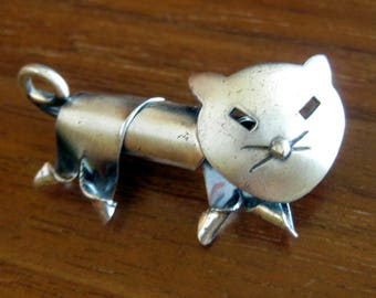 Vintage Cat Brooch / Sterling Silver by Jewelart / Modernist Silver Cat Brooch / Gift for Her / Gift for Crazy Cat Lady / Meow