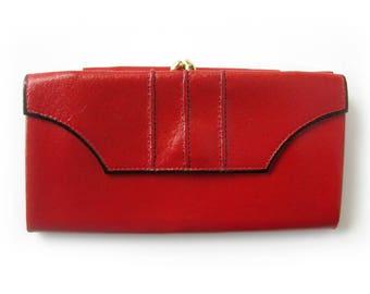 Vintage RED Leather Princess Gardner Wallet / Cherry Red Wallet / Ladies Wallet / Womens Wallet / Cowhide Wallet / Stocking Stuffer