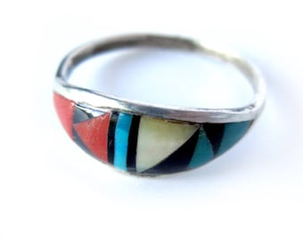 Zuni Inlay Native American Sterling Silver Ring / T. Bowannie / Coral Abalone MOP Onyx Turquoise Ring / Boho Chic / Old Pawn / Sz 8.75