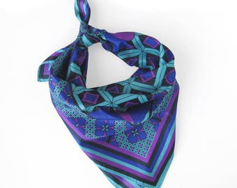 Vintage Geometric and Floral Print Silk Scarf / Jewel Tones Purple, Fuchsia, Black and Aqua /  Hand Rolled Hem / Regal Scarf / Head Scarf