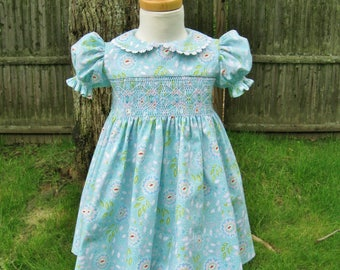 Baby girl, size 24 Mo,Smocked dress, Aqua floral dress,  Easter, Toddler, Ready to ship, Party dress, Handmade dress, Birthday gift, OOAK