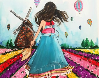 Twirling In The Tulip Fields print of original Watercolor Fashion and Netherlands Travel Illustration