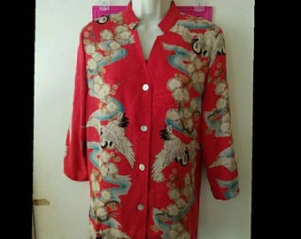 Vintage 2-Piece Asian Chinese Japanese Silk Bird Floral Blouse Set - Size S - Cranes & Cherry Blossoms