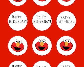 Elmo, Elmo Cupcake Toppers, Birthday Cupcake Toppers, Tag, Sticker 2 inch round, Thank You Toppers