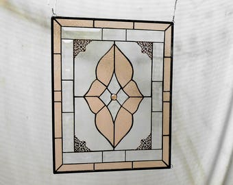 Vintage Look Stained Glass Window Panel, Neutral Champagne & Beveled Glass, Stained Glass Transom Window, Traditional Glass Window Valance