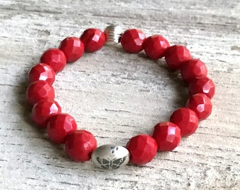 Red  Minimalist  Beaded  Stretch Bracelet  with Silver  Butterfly For Her Under 75, Mom Girlfriend Gift, US Free Shipping & Gift Wrap