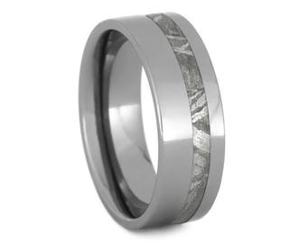 Meteorite Offset Inlaid in Titanium Ring-Mens Wedding Band