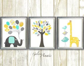 Nursery art baby nursery decor canvas prints wall par for Decoration murale elephant