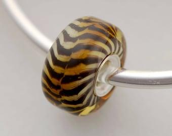 Classic Remake Siberian Tiger - Artisan Glass Charm Bracelet Beads - (DEC-82)