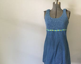 Vintage DENIM MINI Dress • 1990s Clothing • Cotton Blue Jean Bodycon Fitted Bandage Crazy Daisy Sleeveless Scoopneck • Womens Small Medium