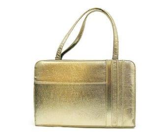 REDUCED 50s 60s Purse Vintage Gold Metallic Handbag