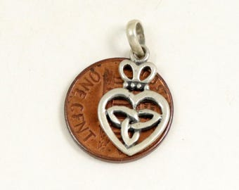 Vintage Celtic Luckenbooth Charm Pendant, 925 Sterling Silver