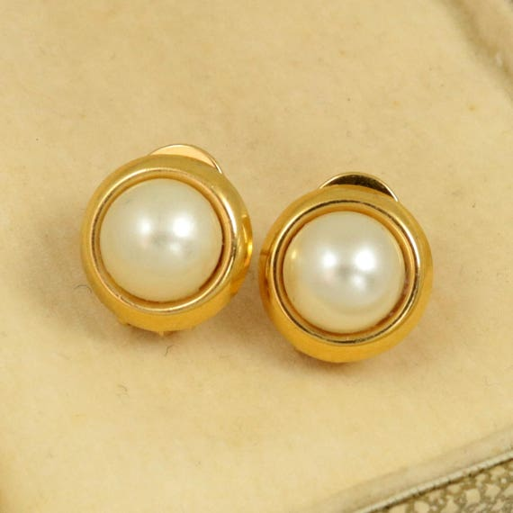 Vintage Faux Mabe Pearl Earrings, Gold Plated on 925 Sterling Silver