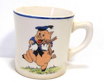 1930s Walt Disney Enterprises Three Little Pigs Cup/ Vintage Childs Mug/ Patriot China
