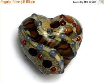 ON SALE 35% OFF Brown w/Ink Blue Dots Heart Focal Handmade Lampwork Bead - Grace Lampwork Bead 11806405