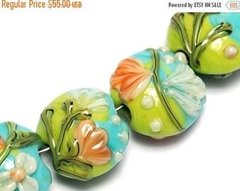 ON SALE 35% OFF Glass Lampwork Bead Set - Seven White w/Orange Flora Lentil Beads 10504302