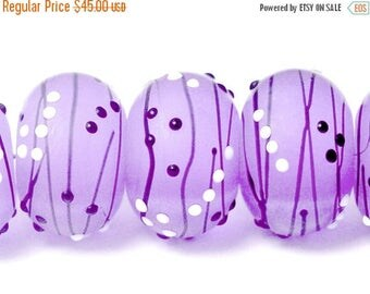 ON SALE 30% off Six Lilac Tea Party II Rondelle Beads - Handmade Glass Lampwork Bead Set 10604921