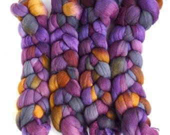 SALE!!  Polwarth/Silk Roving - Handpainted Spinning or Felting Fiber, Black Hollyhocks