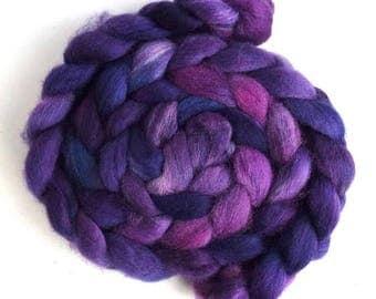 Purple Pathway, Shetland Roving - Handpainted Spinning or Felting Fiber
