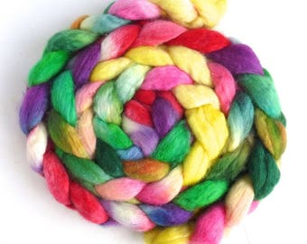 Tiny Flowers, BFL Wool Roving - Hand Painted Spinning Fiber