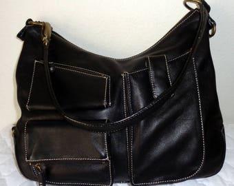 Alfani thick smooth genuine leather larger size satchel, shoulder bag ,tote ,city bag, black vintage lots of pockets pristine condition