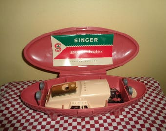 Vintage Advertising Singer Sewing Machine Company Singer Buttonholer Kit In Pink Case FREE SHIPPING