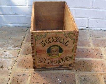Antique Vintage Wood Wooden Box Antique Vintage Royal Baking Powder Box Crate Royal Baking Powder Crate Box